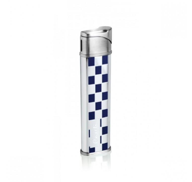 """Зажигалка """"Caseti"""" газовая пьезо, сплав цинка, покрытие хромированное + синий лак 8,5*1,2*2,2 см"""