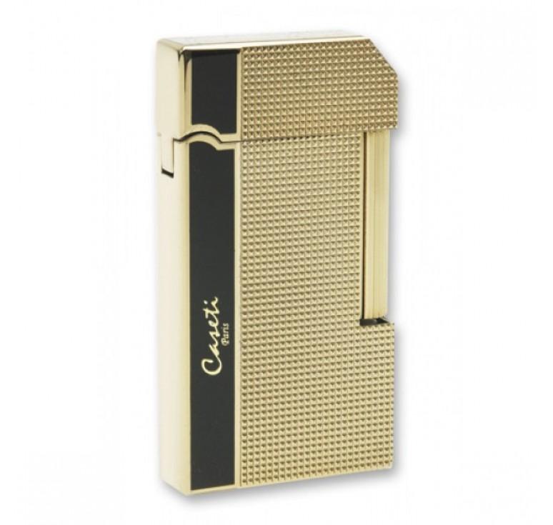 """Зажигалка """"Caseti"""" газовая кремниевая, сплав цинка, черный лак/золото, 3,5х1,0х6,5 см"""