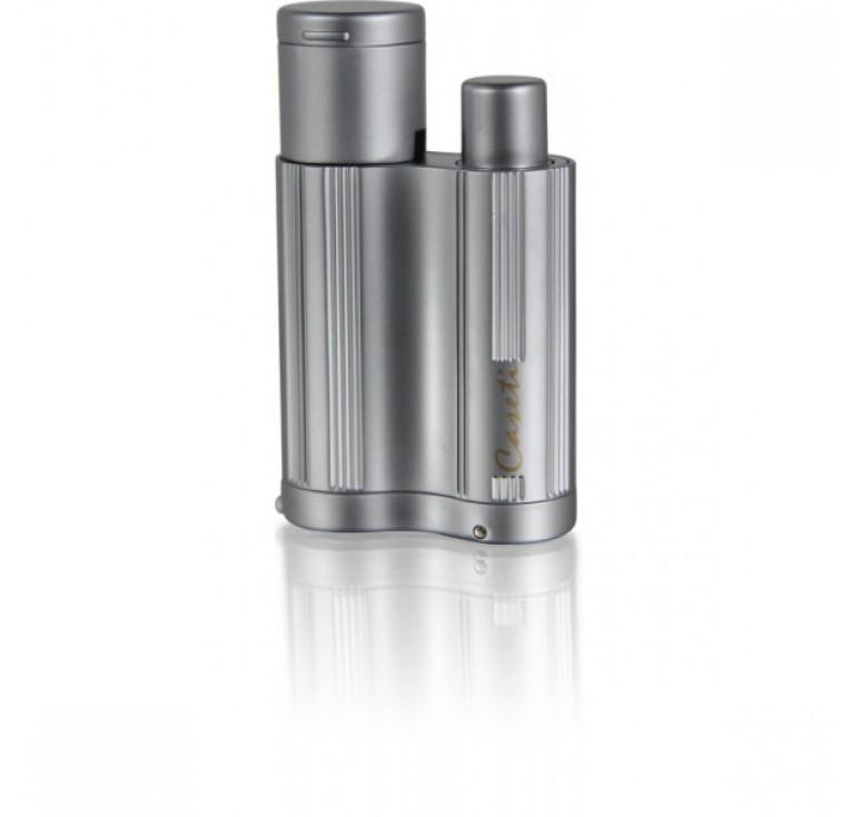 """Зажигалка """"Caseti"""" для сигар, газовая турбо, хромированная рифленая, серебристая 6,3x1,9x3,8 см"""