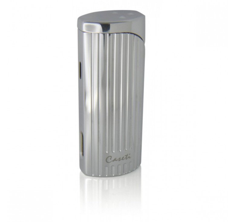 """Зажигалка """"Caseti"""" для сигар, газовая турбо, хромированная с вертикальными полосами 7,2x2,0x2,9 см"""