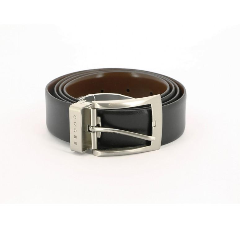 Ремень Cross Manresa, двухсторонний, кожа наппа гладкая, цвет чёрный/коричневый, 126 х 3,5 см