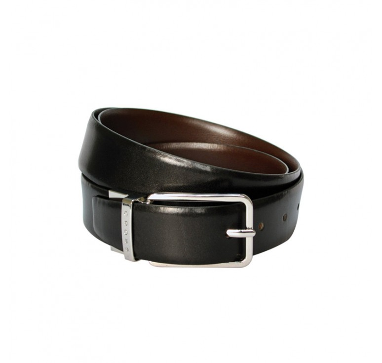 Ремень Cross Santiago, двухсторонний, кожа наппа гладкая, цвет чёрный/коричневый, 117 х 3,5 см