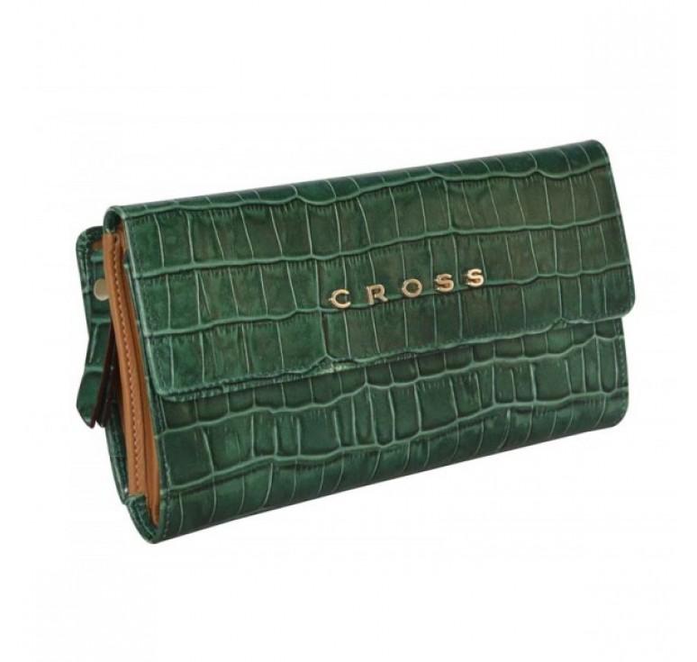 Кошелёк Cross Bebe Coco, кожа наппа фактурная, цвет зелёный/рыжий, 19,5 х 10,5 х 3 см