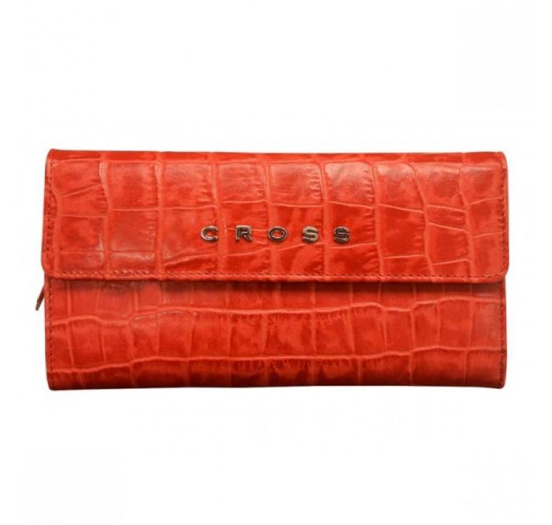 Кошелёк Cross Bebe Coco, кожа наппа фактурная, цвет красный/бежевый, 19,5 х 10,5 х 3 см