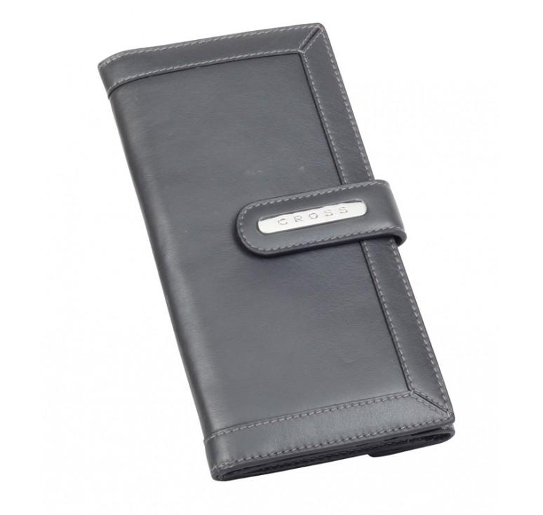 Клатч-кошелёк Cross. Кожа наппа, гладкая, серый, 20 х 11 х 1,5 см