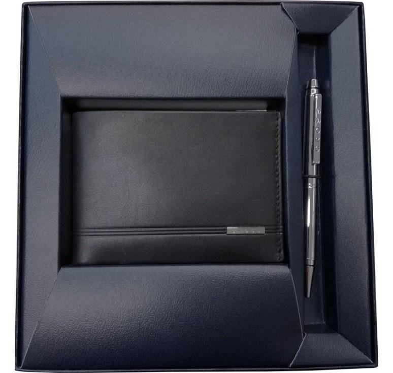 Набор Cross Century Classic: портмоне, черная кожа + шариковая ручка, цвет - серебристый