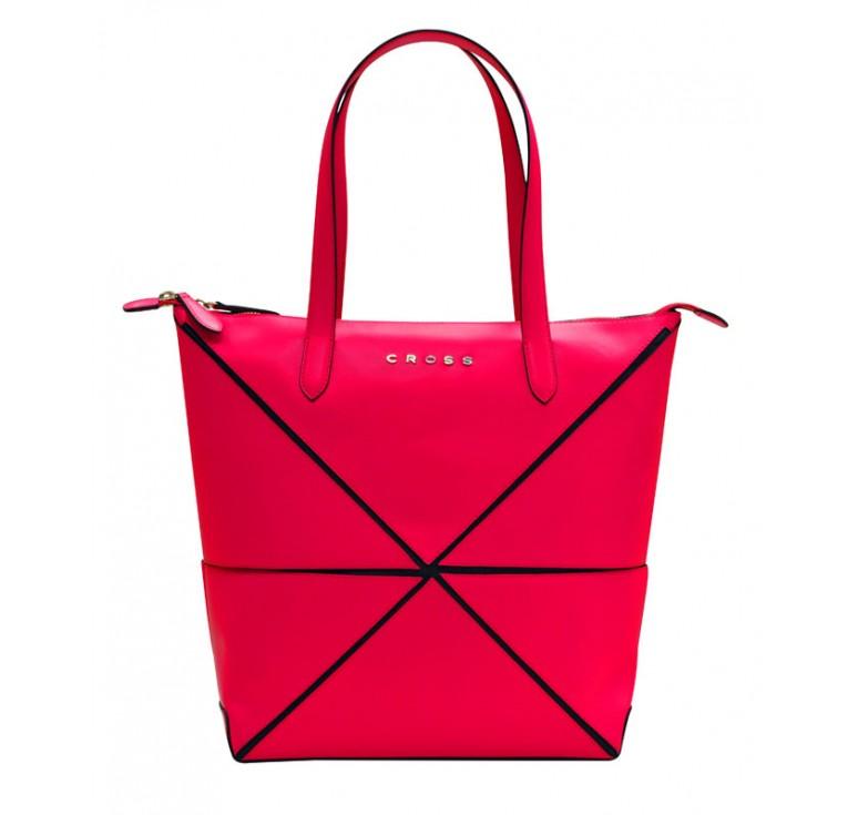 Сумка наплечная женская, Cross Origami, кожа наппа гладкая+ткань, цвет розовый, 38 х 32 х 13 см