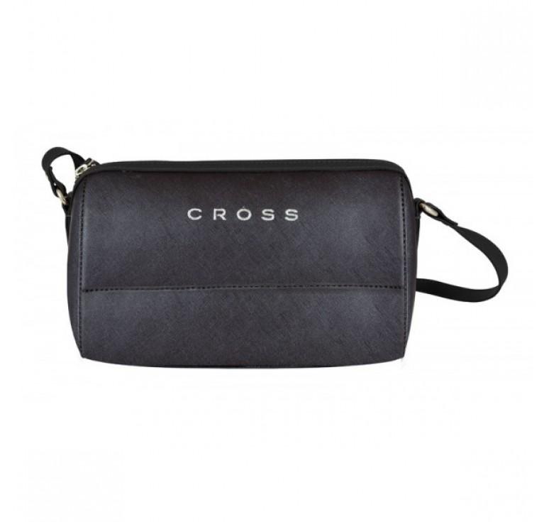 Сумка женская CROSS,  натуральная кожа, черная, 24 x 10,5 x 15 см
