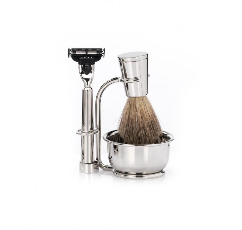 Бритвенный набор Mondial: станок, помазок, чаша, подставка; отполированный никель