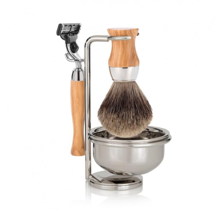 Бритвенный набор Mondial: станок, помазок, чаша, подставка; оливковое дерево