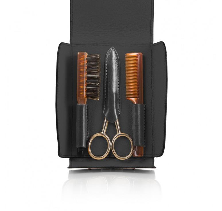Набор для усов и бороды Mondial: в черном чехле щетка, расческа и ножницы