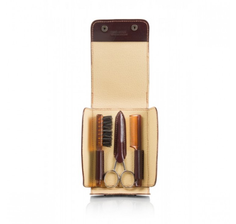 Набор для усов и бороды Mondial: в коричневом чехле щетка, расческа и ножницы