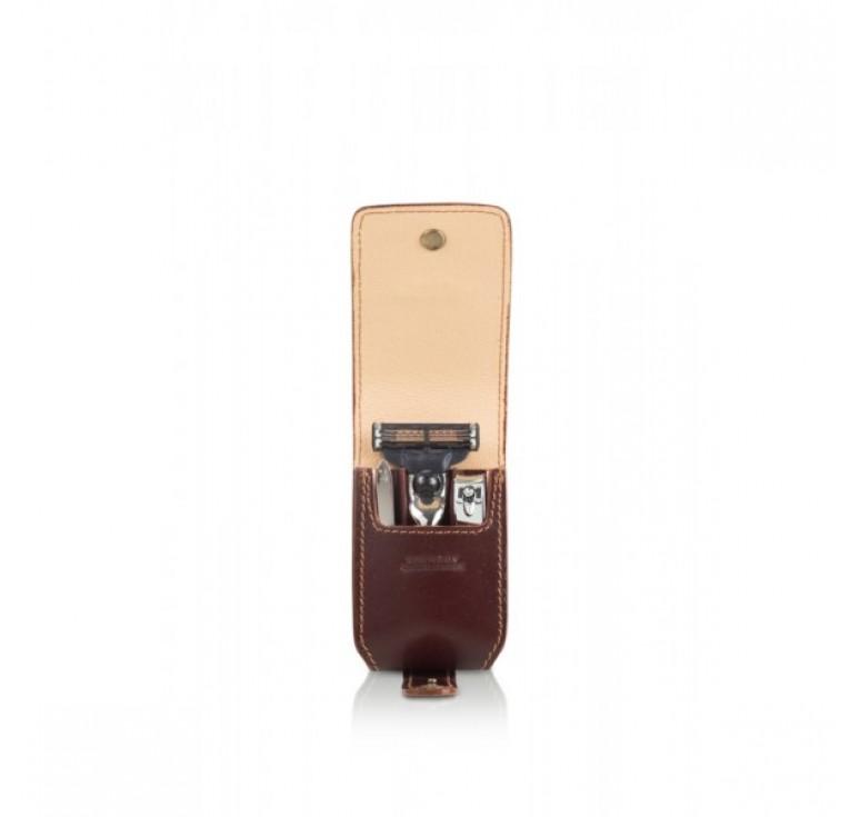 Бритвенный дорожный мини-набор Mondial : в кожаном чехле: станок, пинцет, книпсер; серебристый