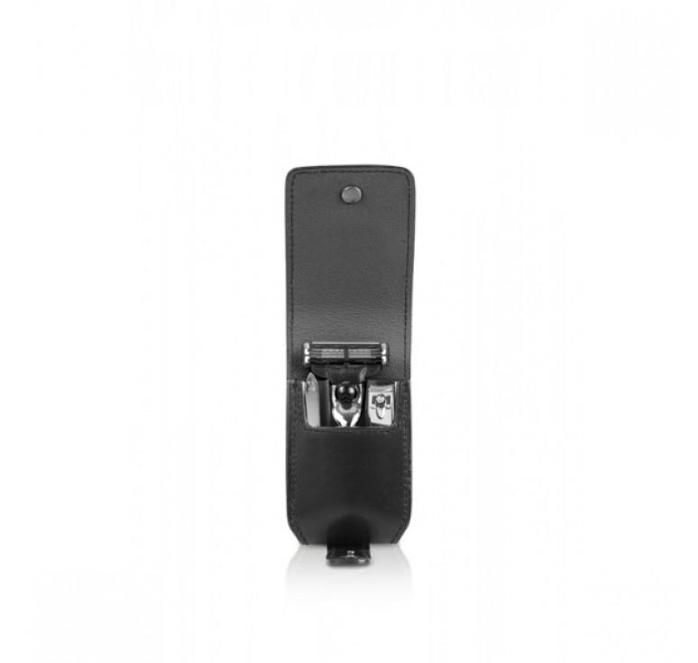 Бритвенный дорожный набор Mondial : в черном чехле: станок, пинцет, книпсер; серебристый