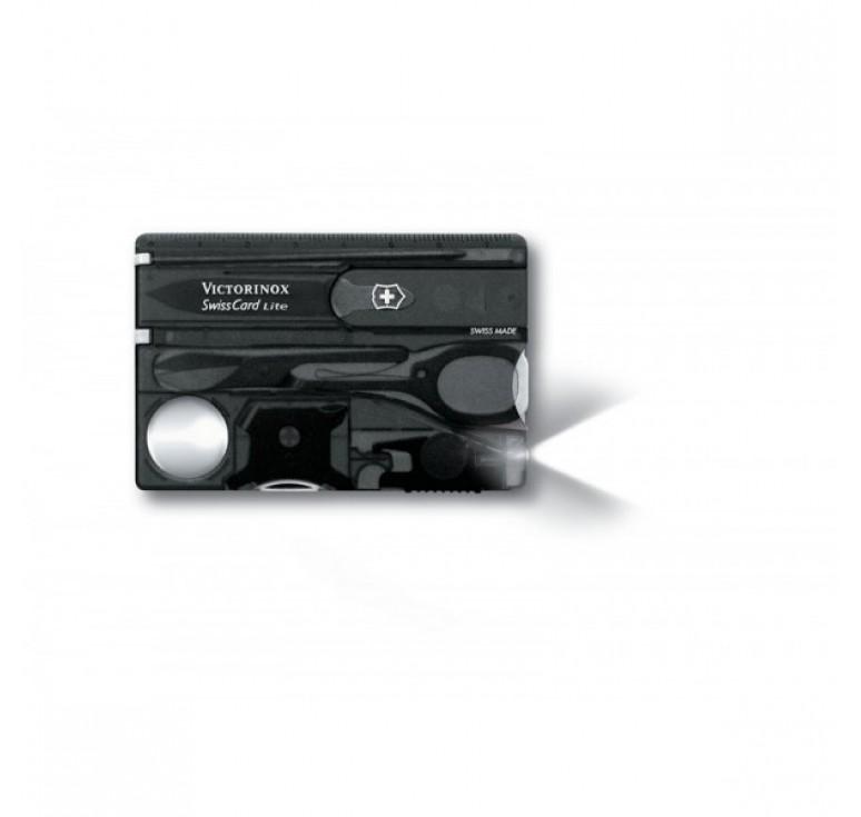 Швейцарская карточка VICTORINOX SwissCard Lite, 13 функций, полупрозрачная чёрная