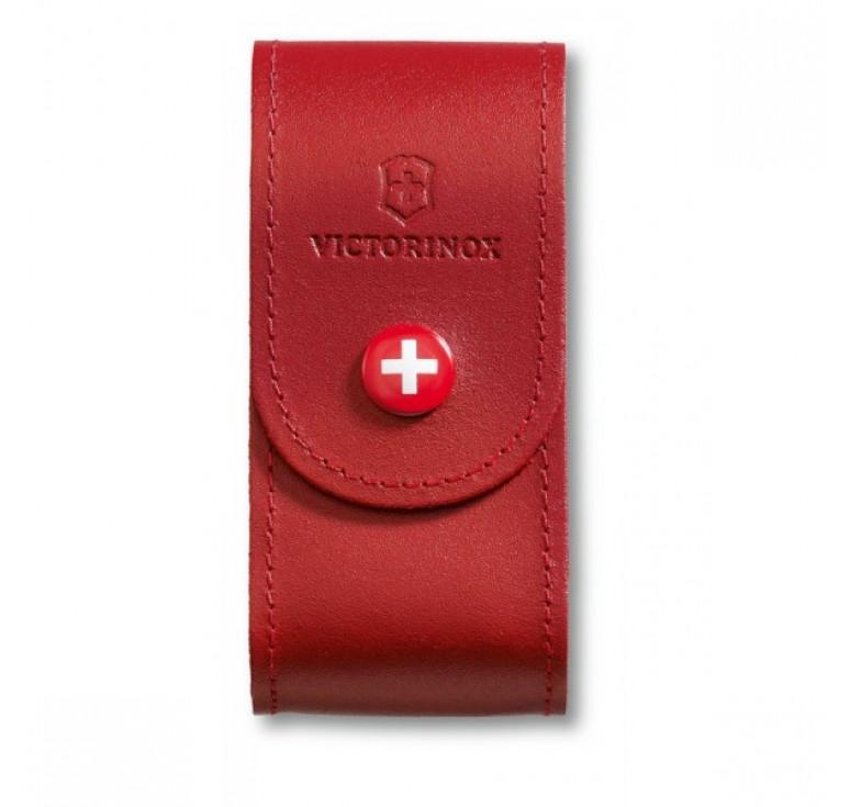 Чехол на ремень VICTORINOX для ножей 91 мм толщиной 5-8 уровней, кожаный, красный