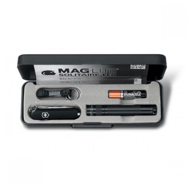 Набор VICTORINOX: нож-брелок 0.6223.3 и светодиодный фонарь Maglite Solitaire, 8 см, чёрный