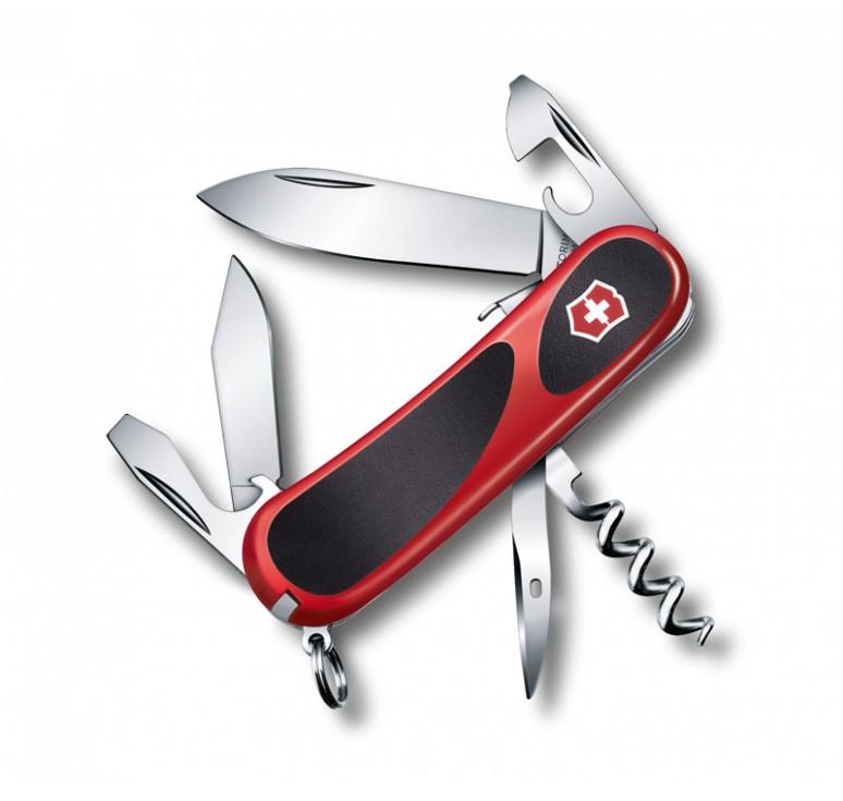 Нож перочинный VICTORINOX Evolution S101, 85 мм, 13 функций, с фиксатором лезвия, красный с чёрным