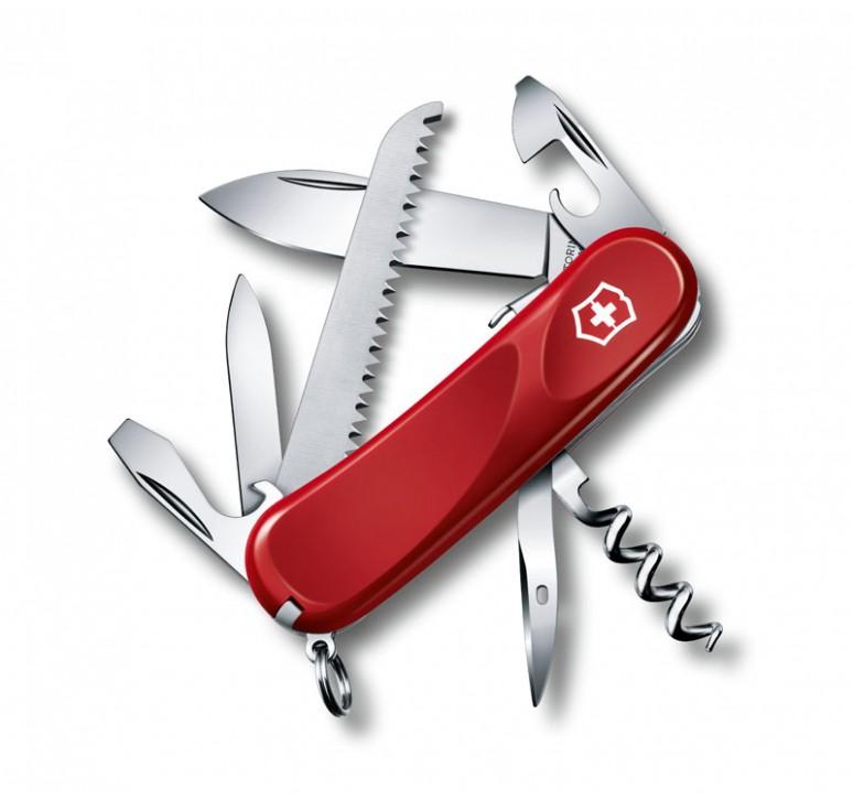 Нож перочинный VICTORINOX Evolution S13, 85 мм, 14 функций, с фиксатором лезвия, красный