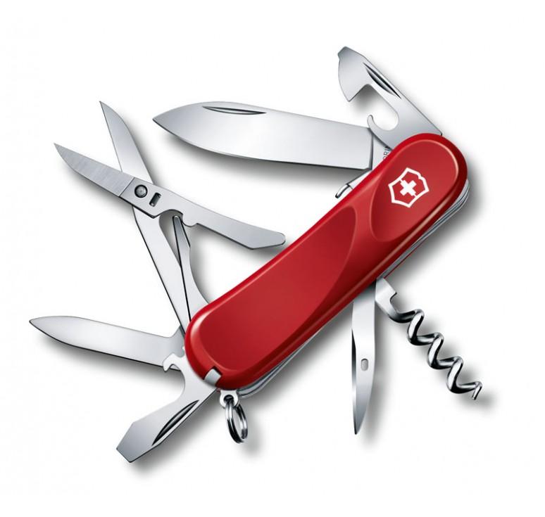 Нож перочинный VICTORINOX Evolution S14, 85 мм, 14 функций, с фиксатором лезвия, красный