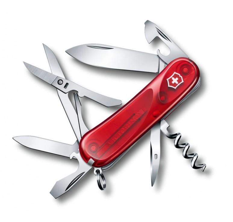 Нож перочинный VICTORINOX Evolution 14.600, 85 мм, 14 функций, полупрозрачный красный