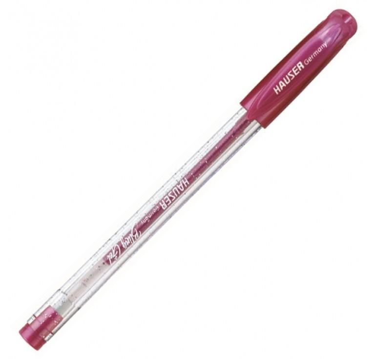 Гелевая ручка Hauser Bling, чернила с блёстками - розовые, коробка