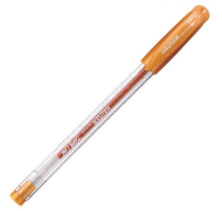 Гелевая ручка Hauser Bling, чернила с блёстками - оранжевые, коробка