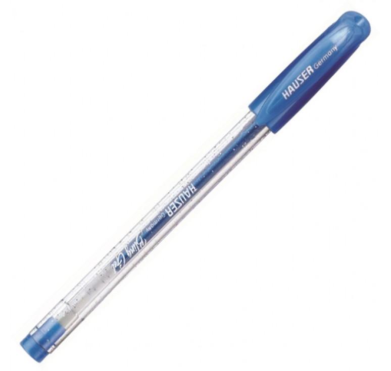 Гелевая ручка Hauser Bling, чернила с блёстками - голубые, коробка