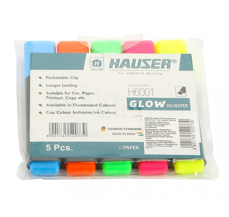 Набор: Текстовыделитель Hauser Glow - 5шт