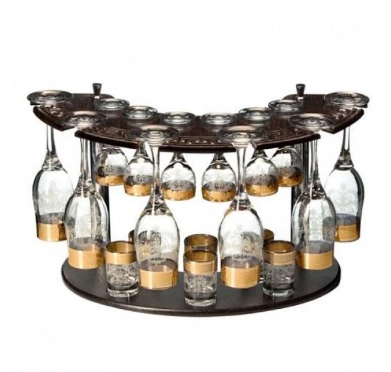 Мини бар  6 бокалов + 6 рюмок +  6 стопок + деревянная стойка  (золото)