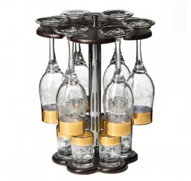 Мини бар  6 бокалов + 6 стопок + деревянная стойка  (золото)