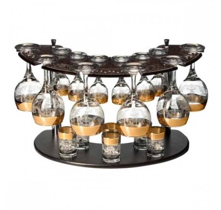 Мини бар  6 фужеры + 6 рюмок +  6 стопок + деревянная стойка  (золото)