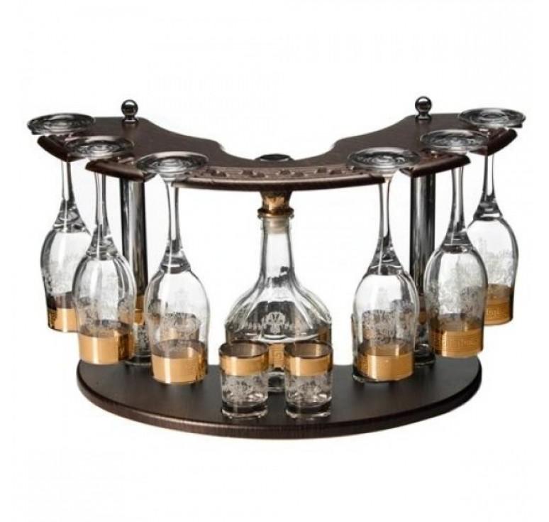 Мини бар  Графин + 6 бокалы + 6 стопок + деревянная стойка