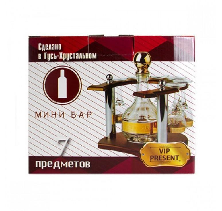 """Мини бар """"Подкова""""  Графин + 6 рюмок + деревянная стойка"""