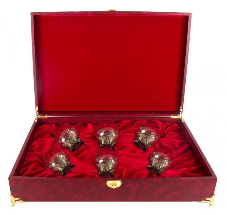 Набор из шести бокалов для коньяка Виноград в большом футляре