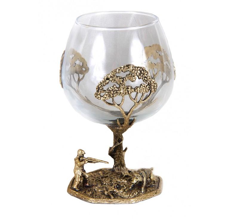 Набор бокалов для коньяка Охота на кабана в деревянном футляре(украшен.)