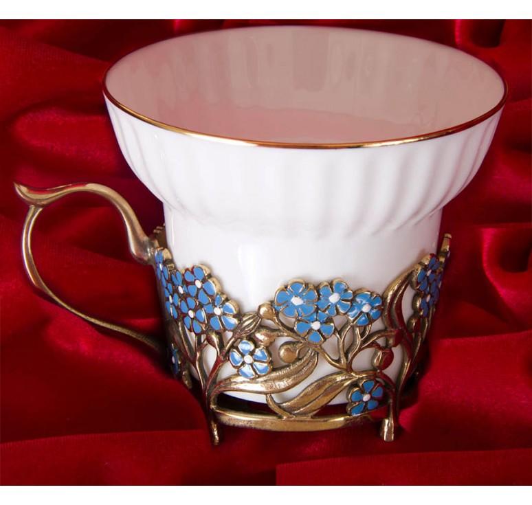 Чашка фарфоровая Незабудки(эмаль) в шкатулке