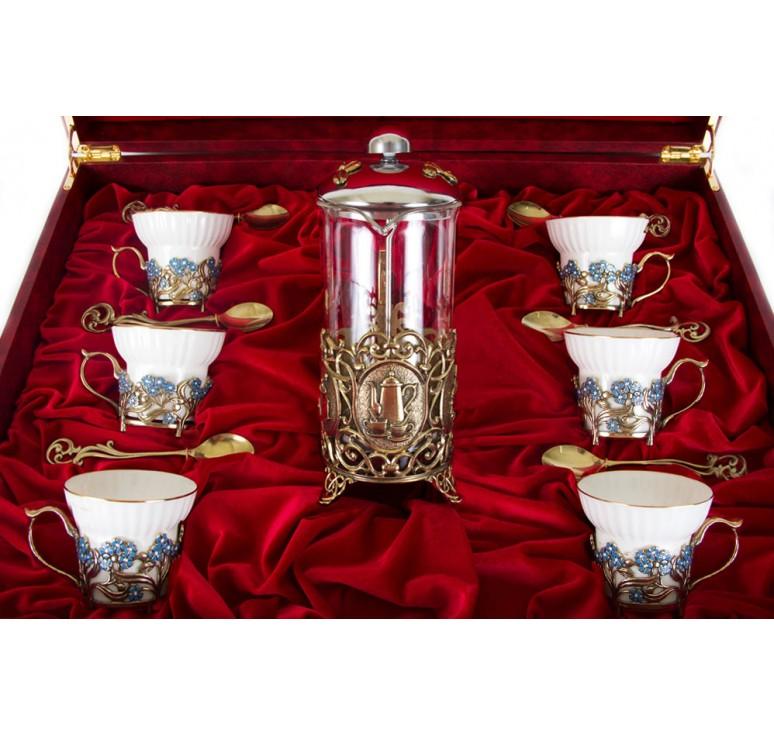 Чайный сервиз с френч-прессом Незабудки(эмаль) Истинная женщина в шкатулке