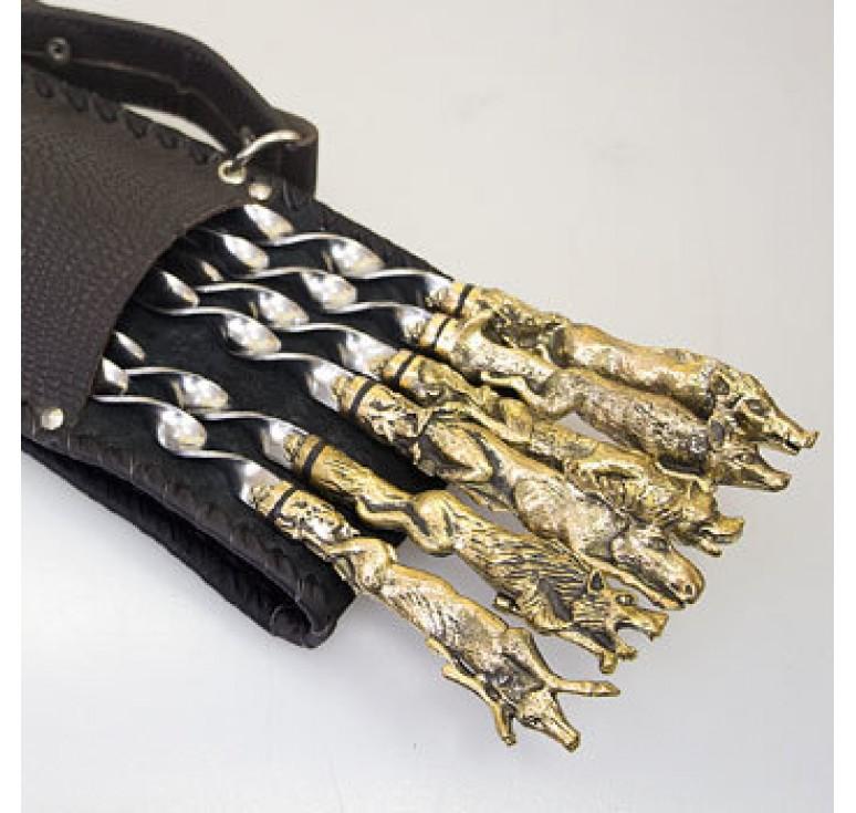Шашлычный набор «Звери» на 6 шампуров