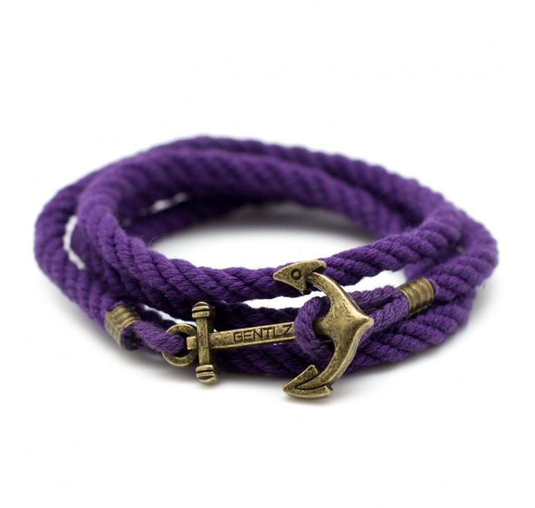 Мужской браслет с якорем несколько оборотов на руке цвет фиолетовый