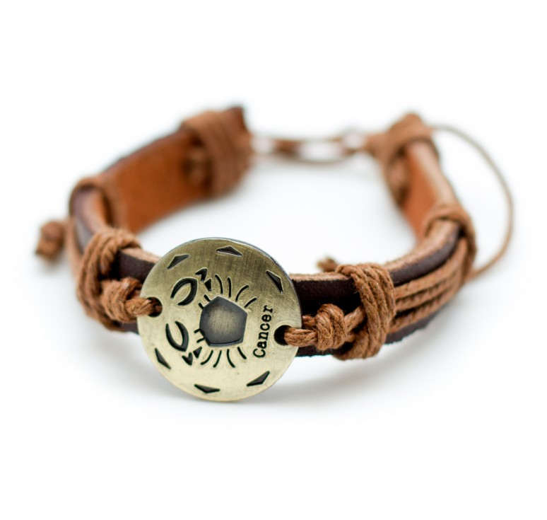 Мужской кожаный плетеный браслет со вставкой со знаком зодиака Рак. Размер регулируется цвет черный