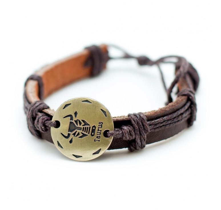 Мужской кожаный плетеный браслет со вставкой со знаком зодиака Телец. Размер регулируется цвет бордовый