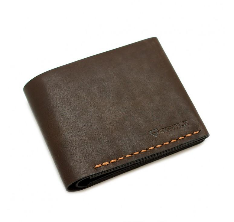 bc46a6cd552b Мужской кошелек портмоне из натуральной кожи ручной работы цвет коричневый.  Цвет ниток синий. Имеет