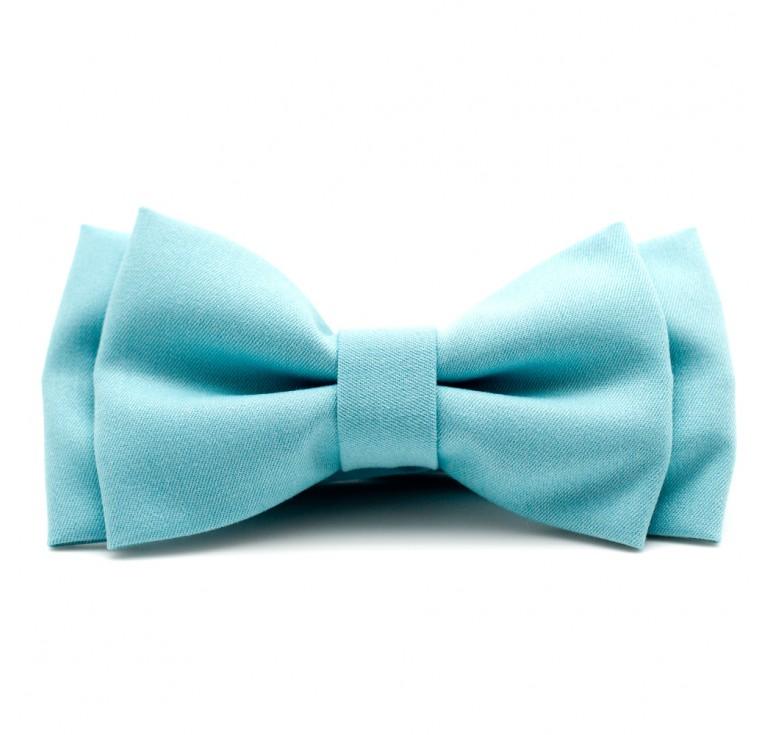 Мужская бабочка из ткани хлопок голубого цвета