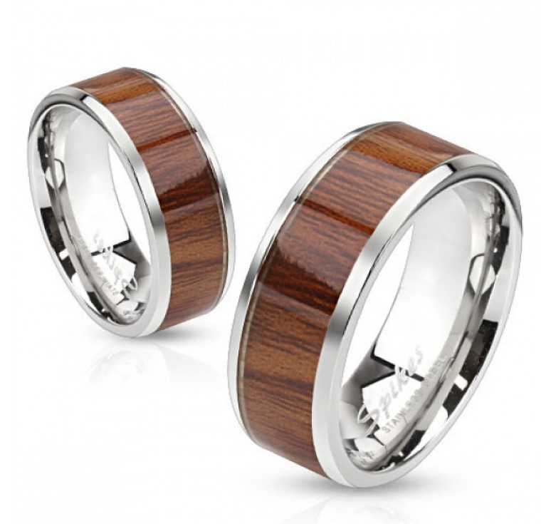 Мужское стальное кольцо коричневого цвета под дерево