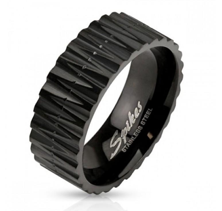Мужское кольцо из стали цвет черный с ребристой поверхностью