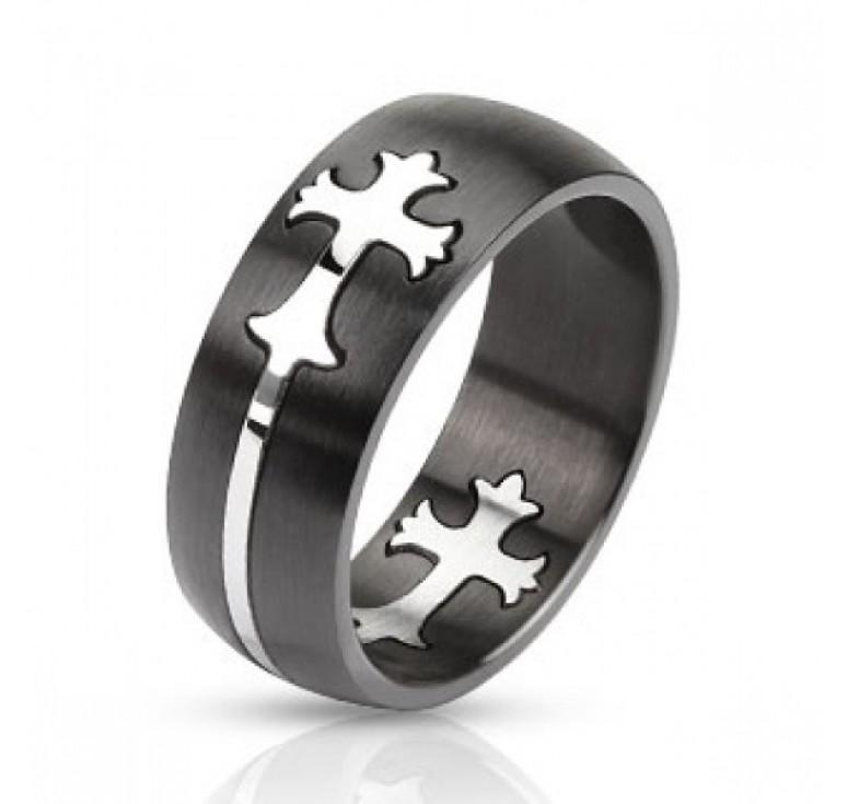 Мужское кольцо из стали цвет черный с изображением в виде креста