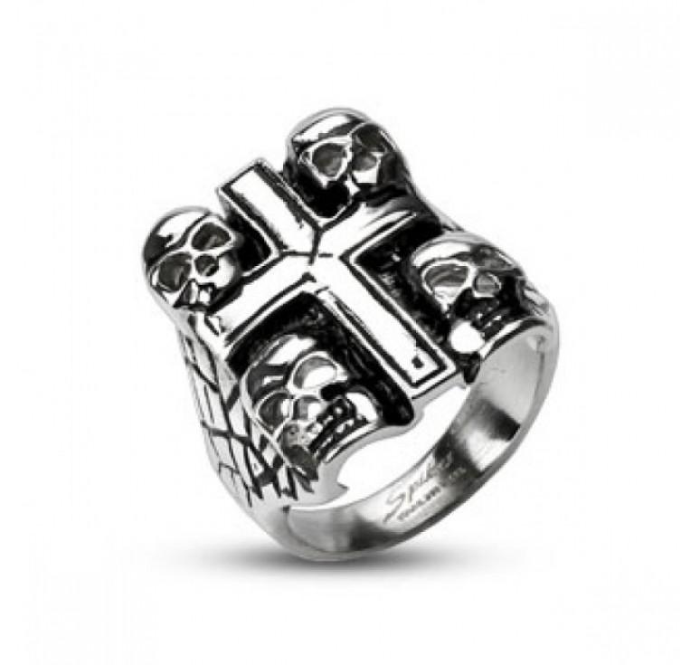 Мужская печатка из стали цвет серебряный с черепами и крестом с чернением