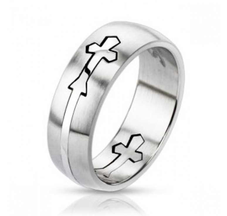 Мужское кольцо из стали цвет платина со вставкой в виде полосы с крестом