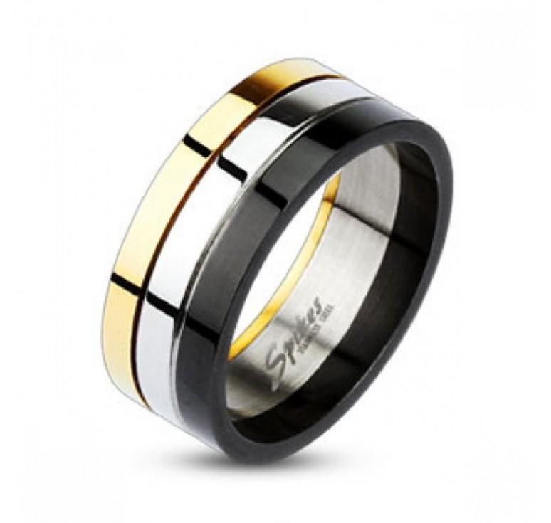 Мужское кольцо из стали цвет платина, золото, черный. Разделено на три дуги разных цветов